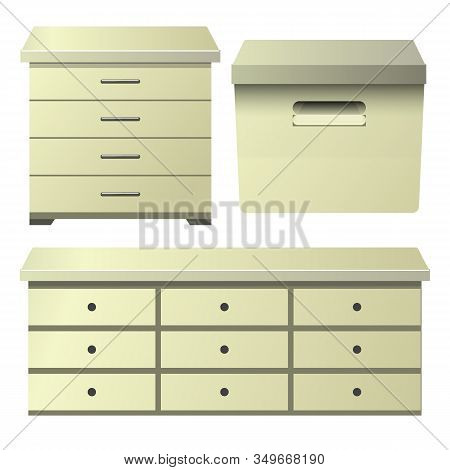 Cream Drawer Dresser With Bedside Night Stand And Storage Box