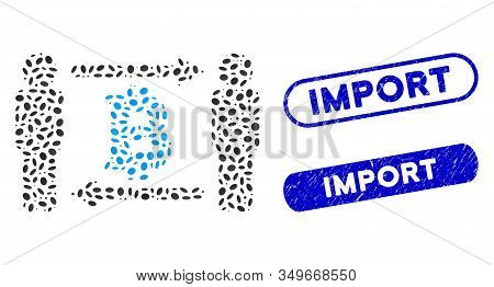 Mosaic Persons Exchange Bitcoin And Corroded Stamp Seals With Import Caption. Mosaic Vector Persons