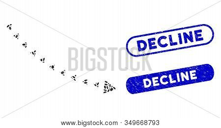Mosaic Dotted Decline Trend And Distressed Stamp Seals With Decline Caption. Mosaic Vector Dotted De