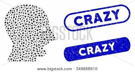 Mosaic Shouting Head And Distressed Stamp Seals With Crazy Caption. Mosaic Vector Shouting Head Is C
