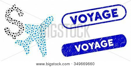 Collage Aviation Business And Rubber Stamp Seals With Voyage Phrase. Mosaic Vector Aviation Business
