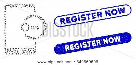 Collage Key Login Smartphone And Distressed Stamp Seals With Register Now Caption. Mosaic Vector Key