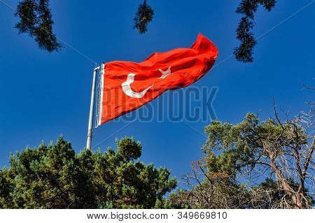Flag Of Turkey Was Adopted In 1876. The Turks Were Using Red Flags Since The Middle Age. The Crescen