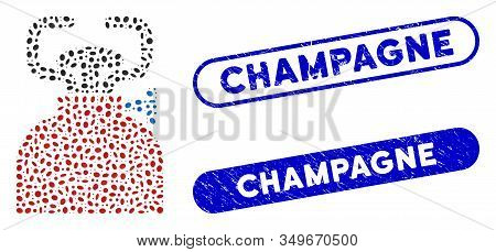Mosaic Burner And Rubber Stamp Seals With Champagne Phrase. Mosaic Vector Burner Is Formed With Rand