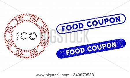 Mosaic Ico Token And Rubber Stamp Seals With Food Coupon Caption. Mosaic Vector Ico Token Is Formed