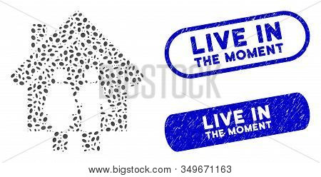 Mosaic Property And Distressed Stamp Seals With Live In The Moment Phrase. Mosaic Vector Property Is