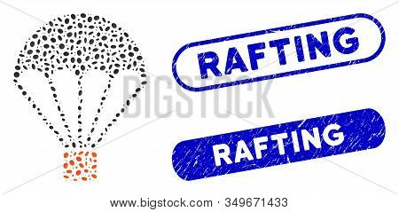 Collage Parachute And Distressed Stamp Seals With Rafting Text. Mosaic Vector Parachute Is Composed