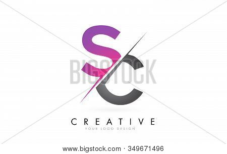 Sc S C Letter Logo With Color Block Design And Creative Cut. Creative Logo Design.