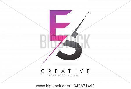 Es E S Letter Logo With Colorblock Design And Creative Cut. Creative Logo Design.