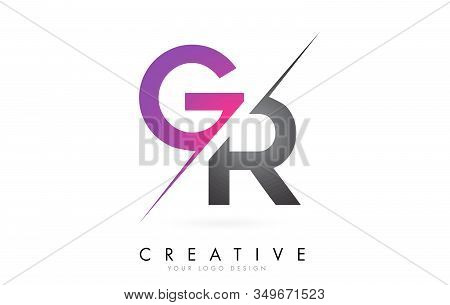 Gr G R Letter Logo With Color Block Design And Creative Cut. Creative Logo Design.