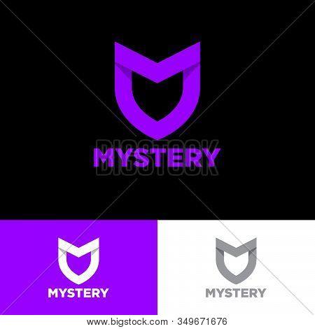 Mystery Logo. M Letter In A Shield. M, Origami Monogram Consist Of Purple Ribbon. Web, Ui Icon, Isol