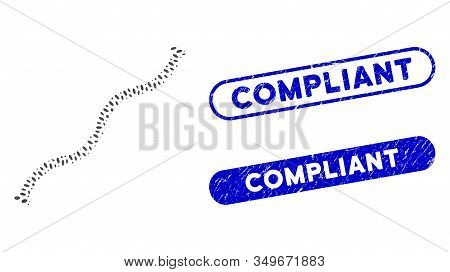 Mosaic Flexible Pipe And Rubber Stamp Seals With Compliant Phrase. Mosaic Vector Flexible Pipe Is De