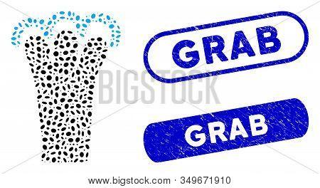 Mosaic Grab Gesture And Corroded Stamp Watermarks With Grab Phrase. Mosaic Vector Grab Gesture Is Cr