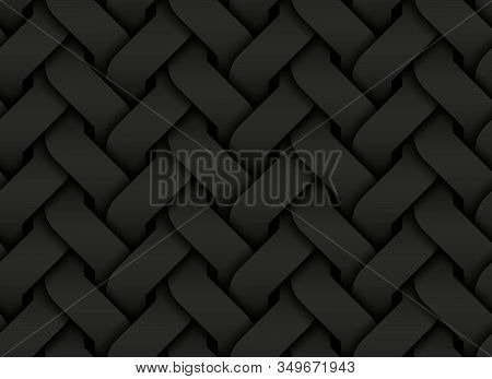 Black Seamless Decorative Pattern Of Entwined Curve Bands. Vector Dark Repeating Geometric Backgroun