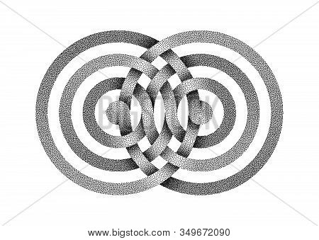 Stippled Infinity Sign Made Of Intertwined Bands. Stylized Interference Concentric Waves Symbol. Vec
