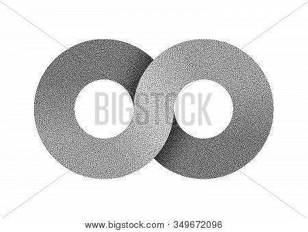 Stippled Infinity Sign Made Of Two Combined Rings. Textured Limitless Strip Symbol. Vector Illustrat