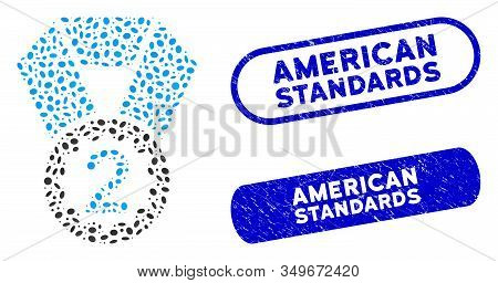 Mosaic Second Place And Grunge Stamp Seals With American Standards Text. Mosaic Vector Second Place