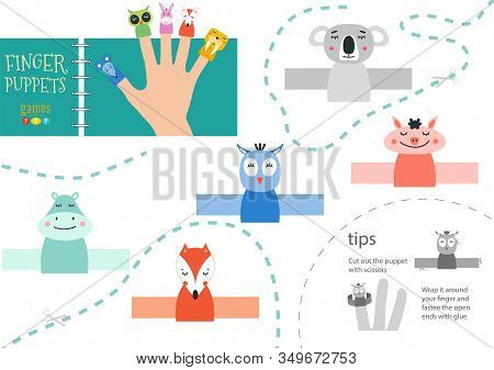 Finger Puppet Vector Animals. Cut And Glue Educational Worksheet For Preschool Or School Kids