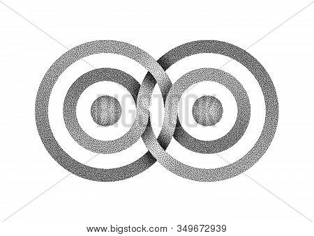 Stippled Infinity Symbol Made Of Intertwined Bands. Stylized Interference Concentric Waves. Vector I