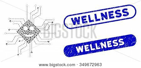 Mosaic Happy Chip Circuit And Corroded Stamp Seals With Wellness Phrase. Mosaic Vector Happy Chip Ci