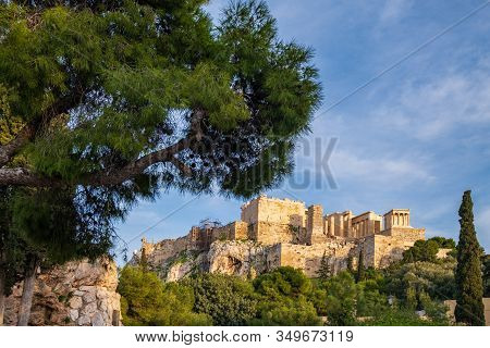 View Of The Acropolis Of Athens In Greece From A Rocky Hill Across The Acropolis Rock