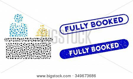 Mosaic Lobby Desk And Rubber Stamp Watermarks With Fully Booked Phrase. Mosaic Vector Lobby Desk Is
