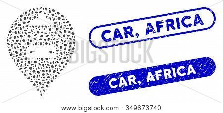 Mosaic Car Shower Marker And Grunge Stamp Seals With Car, Africa Phrase. Mosaic Vector Car Shower Ma