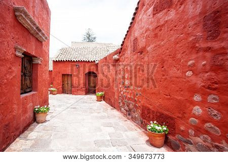 Inner Streets In Monastery Santa Catalina, Arequipa, Peru, Old Wall Terracotta Color
