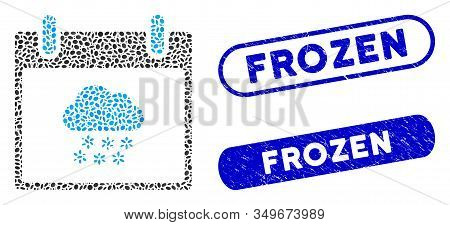 Mosaic Snow Cloud Calendar Day And Corroded Stamp Watermarks With Frozen Phrase. Mosaic Vector Snow