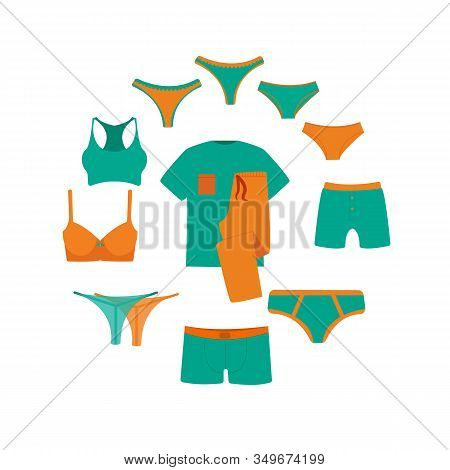 Vector Circle Banner Line Icon Underwear Set. Set Vector Hygiene Objects Clothing, Women's And Men's