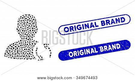 Mosaic User Refresh And Grunge Stamp Seals With Original Brand Caption. Mosaic Vector User Refresh I