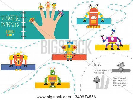 Finger Puppet Vector Robots. Cut And Glue Simple Educational Worksheet For Little Children