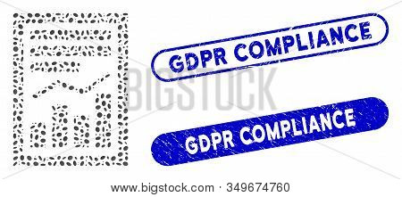 Mosaic Chart Report Page And Distressed Stamp Seals With Gdpr Compliance Caption. Mosaic Vector Char