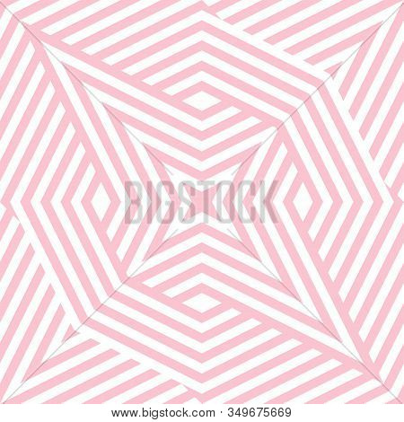 Geometric Lines Seamless Pattern. Abstract Vector Texture With Broken Lines, Ribbons, Stars, Diamond