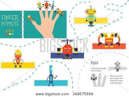 5 Finger Puppet Vector Robots. Cut And Glue Educational Worksheet For Preschool Or School Kids