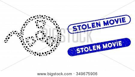 Mosaic Tape Reel And Distressed Stamp Seals With Stolen Movie Phrase. Mosaic Vector Tape Reel Is Cre
