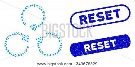 Mosaic Rotation And Distressed Stamp Seals With Reset Text. Mosaic Vector Rotation Is Composed With