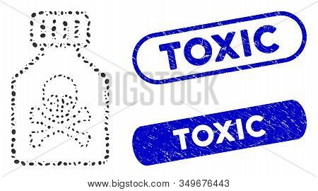 Mosaic Toxic Vial And Corroded Stamp Watermarks With Toxic Text. Mosaic Vector Toxic Vial Is Designe