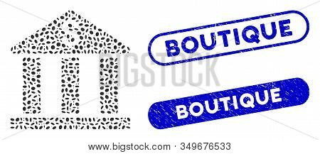 Mosaic Bank Building And Grunge Stamp Seals With Boutique Phrase. Mosaic Vector Bank Building Is Des