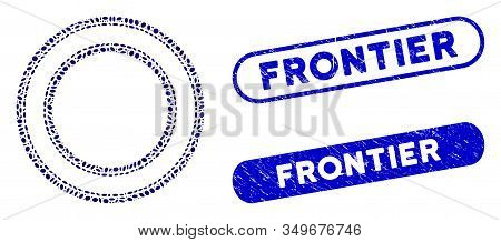 Collage Double Circle Frame And Corroded Stamp Seals With Frontier Caption. Mosaic Vector Double Cir