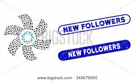Mosaic Rotor And Grunge Stamp Watermarks With New Followers Text. Mosaic Vector Rotor Is Formed With