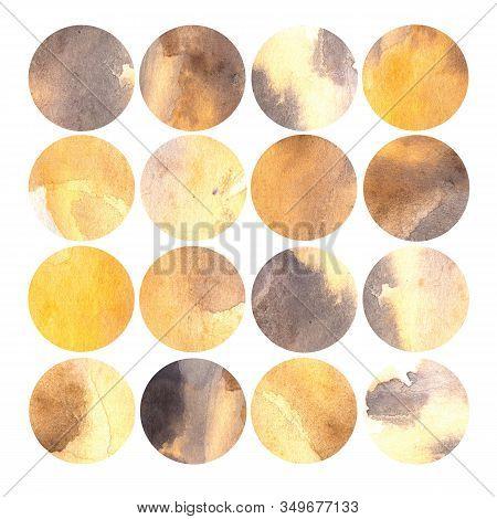 Watercolor Illustration, Set. Circle Shaped Watercolor Texture. Shades Of Ocher And Gray.