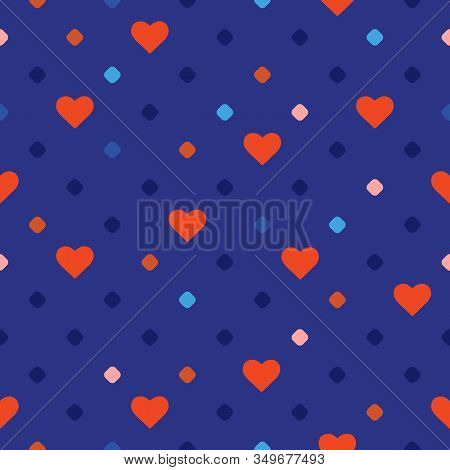 Valentines Day Vector Seamless Pattern With Small Hearts, Circles, Dots