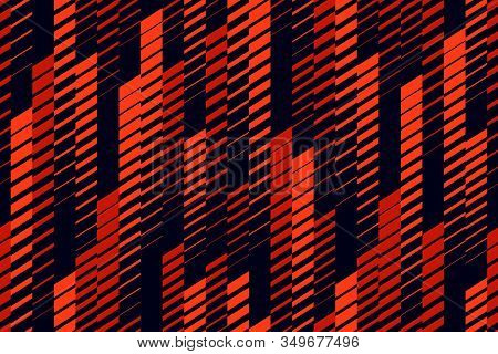 Vector Abstract Geometric Seamless Pattern With Vertical Lines, Tracks, Halftone Stripes. Extreme Sp