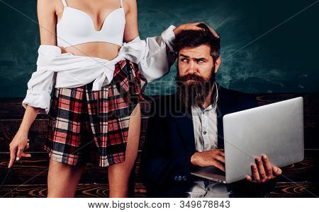 Sex Education. Sex Role Game. Guy Laptop Erotic Video. Man Experienced Bearded Teacher And Seductive
