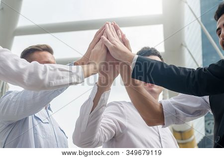 Close Up Image Of Business Success Team Which Hand Of The Work Force Combine Power Tag Team Or Group