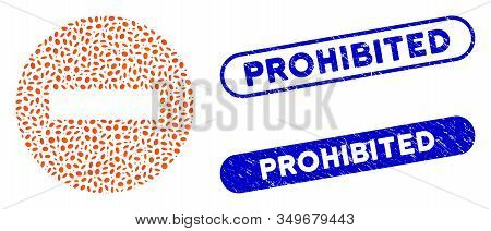 Mosaic Forbidden And Rubber Stamp Watermarks With Prohibited Caption. Mosaic Vector Forbidden Is For