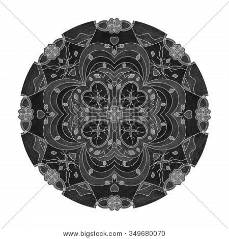 Colored Pencil Effects. Illustration Mandala Black, White And Grey. Hearts And Abstract. Decorative