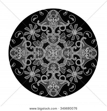 Colored Pencil Effects. Illustration Mandala Black, White And Grey. Heart, Spiral, Bird And Flower.a