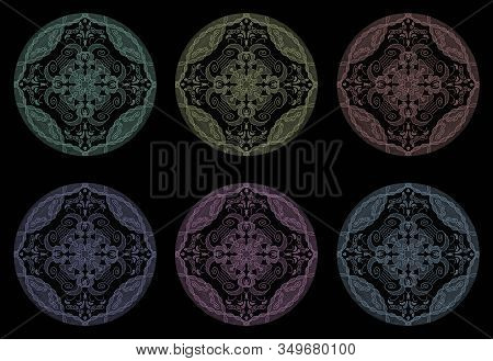Colored Pencil Effects. Illustration Mandala Multicolor. Abstract. Decorative Element.